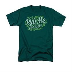 St. Patrick's Day Shirt Rub Me Adult Hunter Green Tee T-Shirt