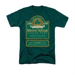 St. Patrick's Day Shirt Splintered Shillelagh Adult Hunter Green Tee T-Shirt