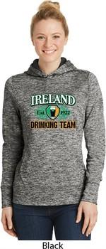 St Patrick's Day Ireland Drinking Team Ladies Black Dry Wicking Hoodie