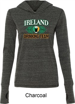 St Patrick's Day Ireland Drinking Team Ladies Tri Blend Hoodie Shirt