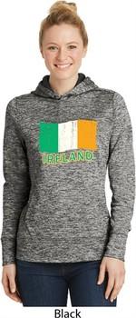 St Patrick's Distressed Ireland Flag Ladies Black Dry Wicking Hoodie