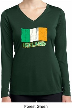 St Patrick's Distressed Ireland Flag Ladies Dry Wicking Long Sleeve
