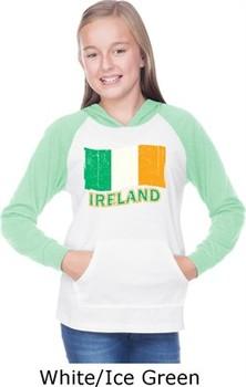 St Patricks Day Ireland Flag Girls Long Sleeve Hoodie