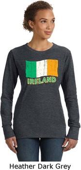 St Patricks Day Ireland Flag Ladies Crewneck Sweatshirt