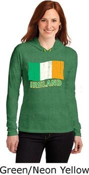 St Patricks Day Ireland Flag Ladies Long Sleeve Hooded Shirt