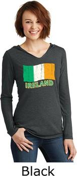 St Patricks Day Ireland Flag Ladies Tri Long Sleeve Hoodie