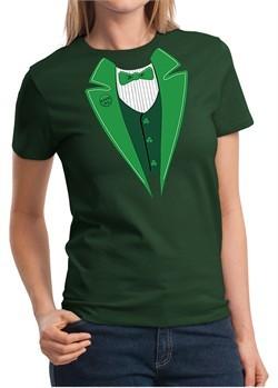 St Patricks Day Ladies Shirt Irish Tuxedo Tee T-Shirt