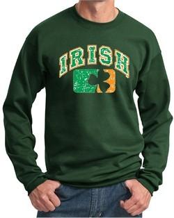 St Patricks Day Mens Sweatshirt Distressed Irish Shamrock Sweat Shirt