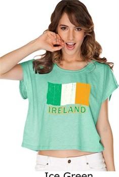 St Patricks Day Shirt Distressed Ireland Flag Ladies Boxy Tee