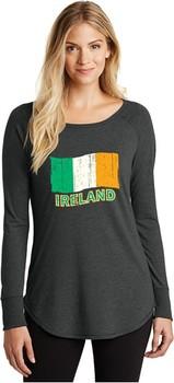 St Patricks Day Shirt Distressed Ireland Flag Ladies Tri Long Sleeve