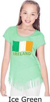 St Patricks Day Shirt Ireland Flag Girls Fringe T-shirt