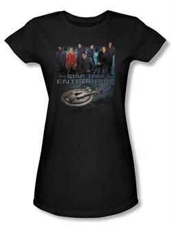Star Trek Juniors Shirt Enterprise Crew Black Tee T-Shirt