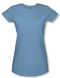 Star Trek Juniors Shirt Science Uniform Carolina Blue T-shirt Tee