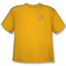 Star Trek Kids Shirt Command Uniform Gold Youth Tee T-Shirt