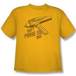 Star Trek Kids Shirt Don't Phase Me Bro Gold Youth Tee T-Shirt