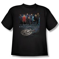 Star Trek Kids Shirt Enterprise Crew Black Youth Tee T-Shirt