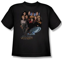 Star Trek Kids Shirt Voyager Crew Black Youth Tee T-Shirt