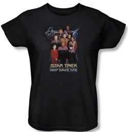 Star Trek Ladies Shirt Ds9 Crew Black T-Shirt Tee