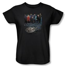 Star Trek Ladies Shirt Enterprise Crew Black Tee T-Shirt