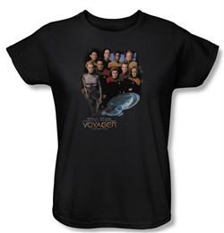 Star Trek Ladies Shirt Voyager Crew Black Tee T-Shirt