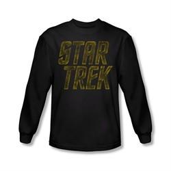Star Trek Shirt Distressed Logo Long Sleeve Black Tee T-Shirt