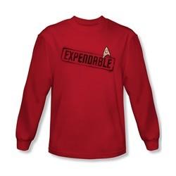 Star Trek Shirt Expendable Long Sleeve Red Tee T-Shirt