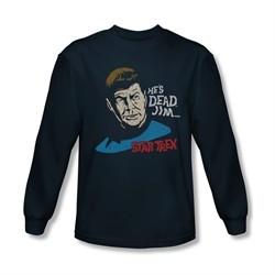 Star Trek Shirt He's Dead Jim Long Sleeve Navy Tee T-Shirt