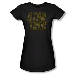 Star Trek Shirt Juniors Distressed Logo Black T-Shirt