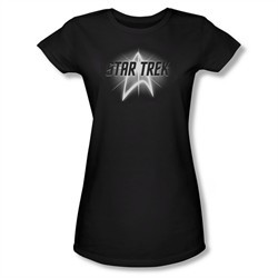 Star Trek Shirt Juniors Glow Logo Black T-Shirt