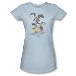 Star Trek Shirt Juniors Retro Crew Light Blue T-Shirt