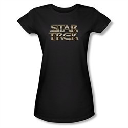 Star Trek Shirt Juniors Steel Logo Black T-Shirt