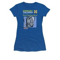 Star Trek Shirt Juniors Tricorder Manual Royal Blue T-Shirt