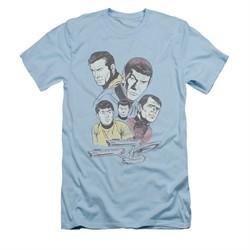 Star Trek Shirt Slim Fit Retro Crew Light Blue T-Shirt