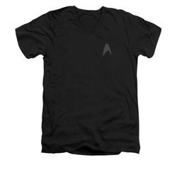 Star Trek Shirt Slim Fit V-Neck Star Fleet Logo Black T-Shirt