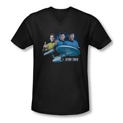 Star Trek Shirt Slim Fit V-Neck The Main Three Black T-Shirt