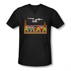 Star Trek Shirt Slim Fit V-Neck Tos Trexel Crew Black T-Shirt