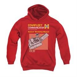 Star Trek Youth Hoodie Communicator Manual Red Kids Hoody