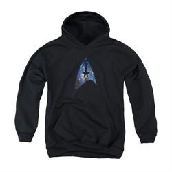 Star Trek Youth Hoodie Galactic Shield Black Kids Hoody