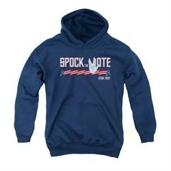 Star Trek Youth Hoodie Spock The Vote Navy Kids Hoody