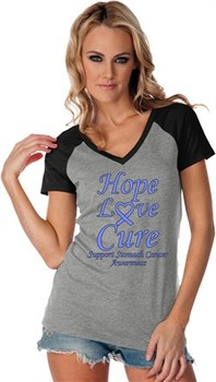 Stomach Cancer Tee Hope Love Cure Ladies Contrast V-neck