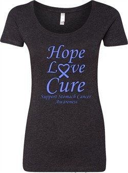 Stomach Cancer Tee Hope Love Cure Ladies Scoop Neck