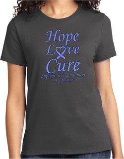 Stomach Cancer Tee Hope Love Cure Ladies T-shirt