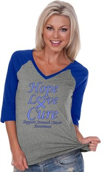 Stomach Cancer Tee Hope Love Cure Ladies V-neck Raglan