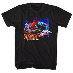 Street Fighter Shirt Alley Fight Black T-Shirt