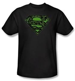 Superman T-shirt Circuits Shield Logo Adult Black Tee Shirt