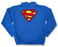 Superman Hoodie Classic Logo Shield Hooded Sweatshirt Adult Royal Blue