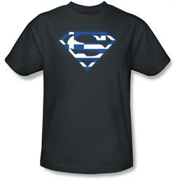 Superman T-shirt  Greek Shield Logo Adult Navy Blue Tee Shirt
