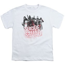 Suicide Squad Kids Shirt Splatter White T-Shirt