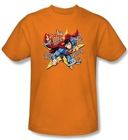 Superman Kids T-shirt Stars And Chains Superhero Orange Tee Youth