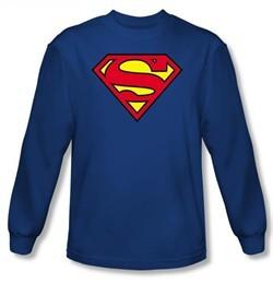 Superman Long Sleeve T-shirt Classic Logo Shield Adult  Royal Blue Tee
